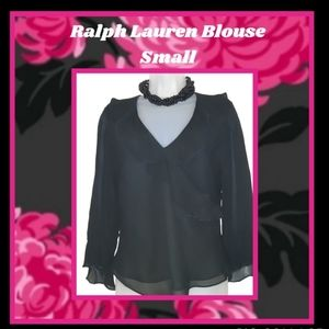 Black Sheer Ralph Lauren Bell Sleeve Blouse Small